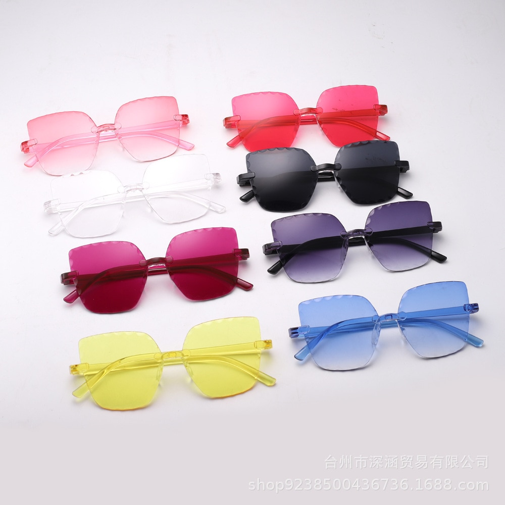 Free shipping New fashion flower baby personality frameless polygon children's Sunglasses