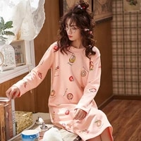 spring and autumn new nightdress ladies cute home casual long sleeved round neck nightdress can be worn outside with flounces