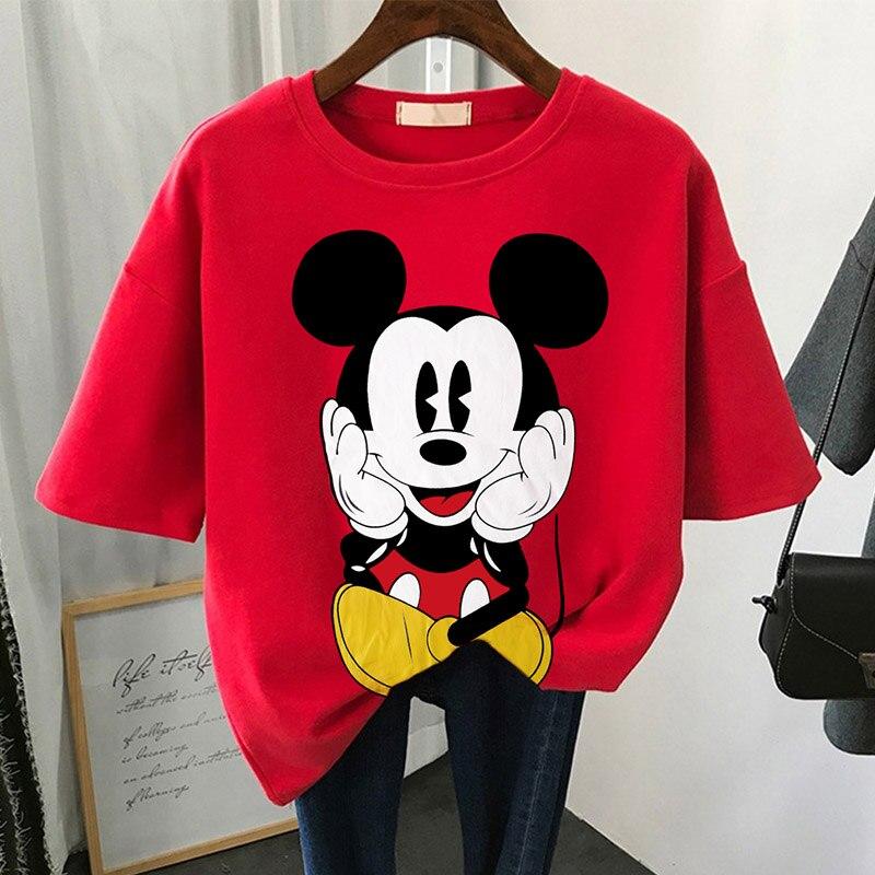 Disney minnie mouse amigos imprimir t camisa de verão das mulheres manga curta lazer topo t casual senhoras do sexo feminino t camisas mais tamanho