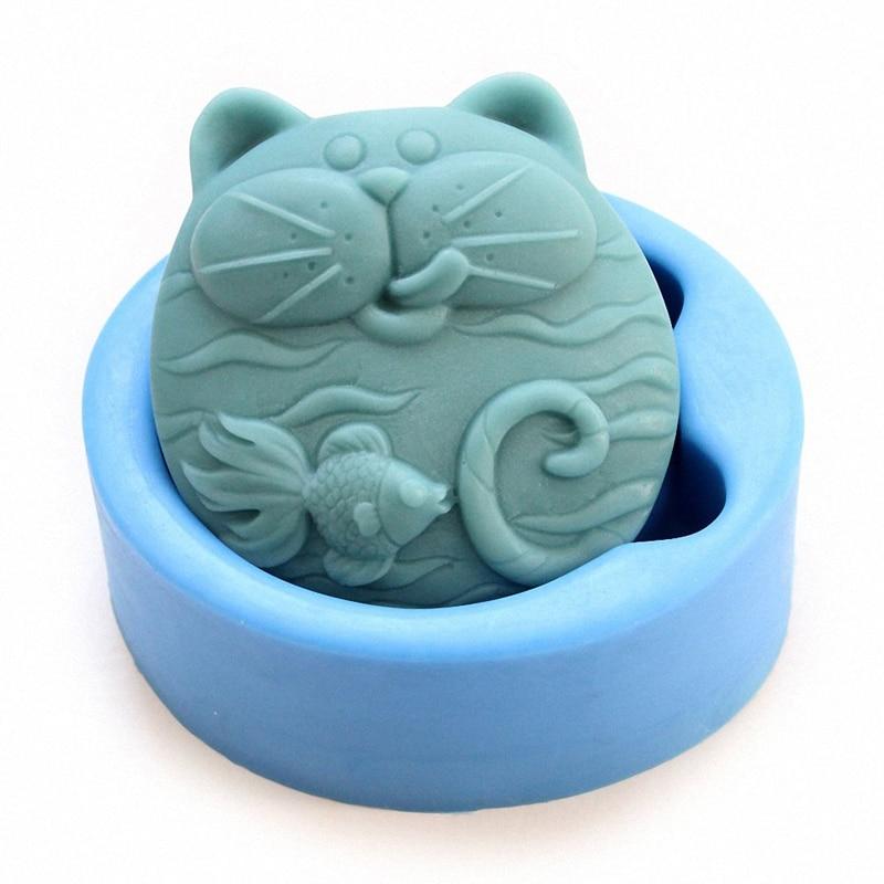 Nicht-Stick Silikon Form 3D Silikon Seife form DIY Neue Katze Fisch Handwerk Kunst Silikon Seife form Handwerk Form DIY Handmade Candle mold
