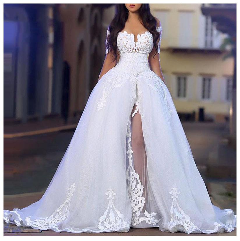 Nuevo 2019 traje con abertura de Noche vestidos para baile de boda Vestido sin hombros vestidos de boda de alta calidad vestido de novia Sexy
