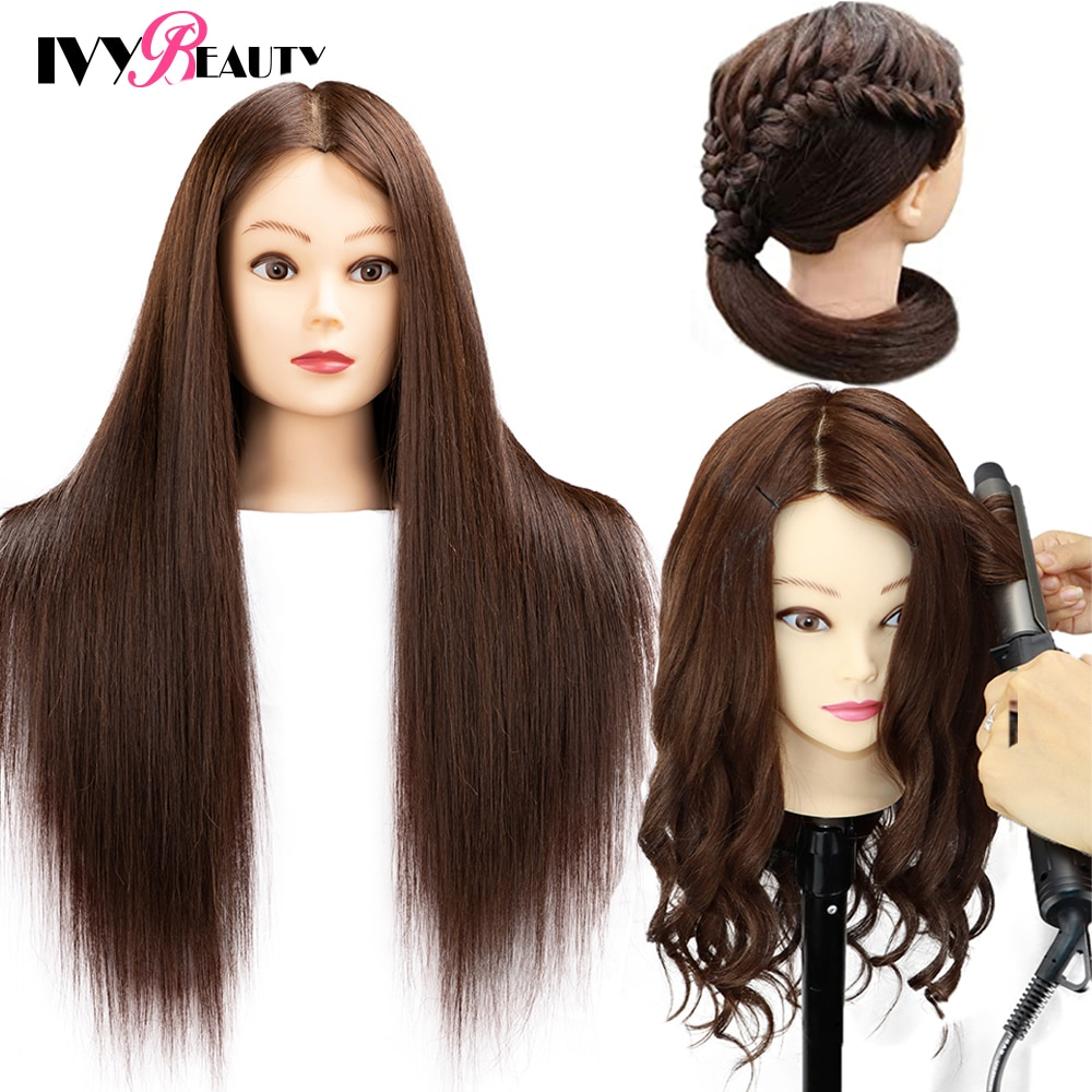 85% Real Human Hair Mannequin Head For Hair Training Styling Professional Hairdressing Cosmetology Dolls Head For Hairstyles