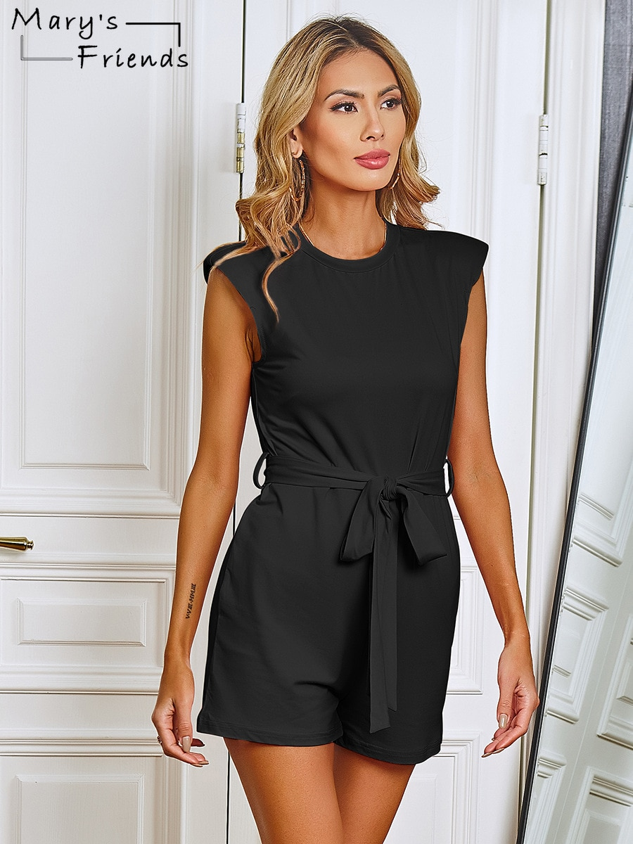 Mary's Friends Solid Color O-neck Jumpsuit Sleeveless Slim-fit Jumpsuit Casual Street Jumpsuit Summer Holiday Belted Jumpsuit ruffle strap belted pinafore jumpsuit