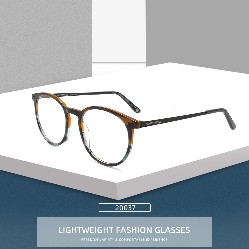 Классические круглые очки NONOR, ацетатные оправы для мужчин и женщин, дизайнерские оптические очки, круглые металлические очки с полкой, модн...