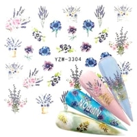 fwc 1pc nail flower series nail art water transfer stickers full wraps deer lavender nail tips diy