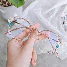 Fashion Designer Rhinestone Sunglasses Women Vintge Oval Reading Glasses Blue Light Sun Glasses Fram