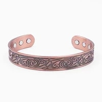 vintage viking magnetic energy red copper magnet opening bracelet for men jewelry