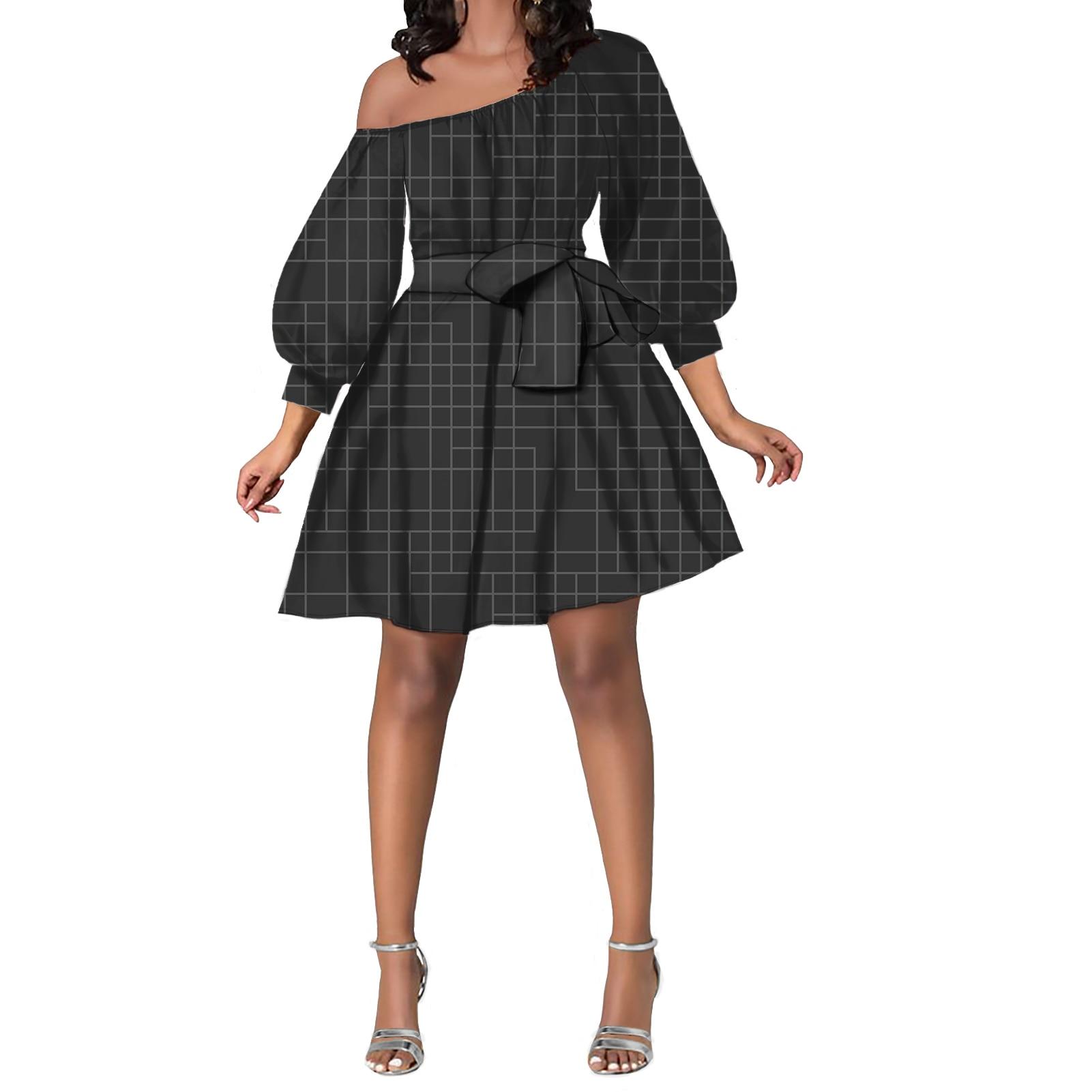 نقية الصلبة خط مثير ضئيلة الكتف مطاطا يتقلص فستان قصير فستان الصيف طباعة رقيق قطعتين قمة الموضة طباعة فستان رداء
