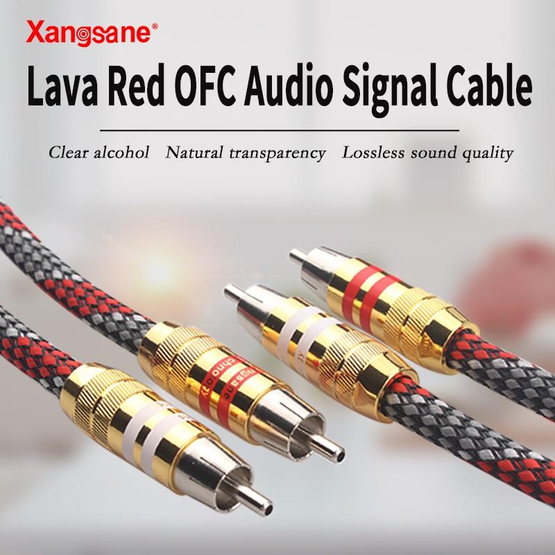 Xangsane-cable de señal de audio Chapado en plata, macho a macho, 2RCA...