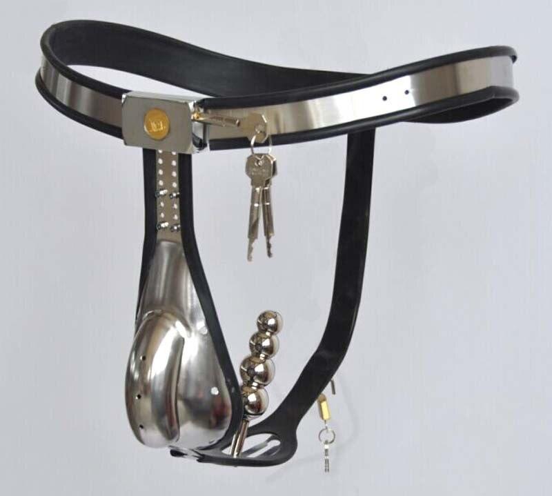 حزام العفة للذكور ، قفص العفة من الفولاذ المقاوم للصدأ مع قابس شرجي قابل للإزالة ، جهاز ضبط قضيب قابل للقفل