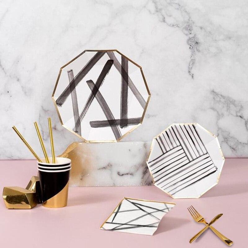 8 juegos de papel de aluminio dorado vajillas a rayas cepillo platos de papel negro y blanco platos y vasos servilletas cumpleaños boda fiesta Decoración