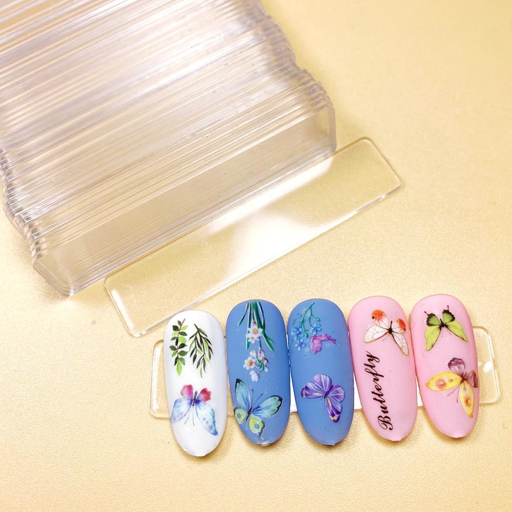 50pcs/pack Transparent False Nail Tips Nail Art Display Stand Acrylic Gel Polish Holder Strip Manicure Practice Showing Tools недорого