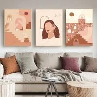WTQ     toile abstraite avec visage de femme  peinture Vintage de corps de fille  decor mural minimaliste  decor de salle