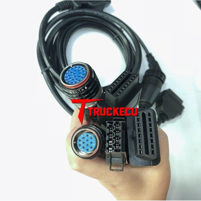 5 uds cable forvolvo vocom 88890300 forvolvo/UD/MACK/RENAULT camión excavadora de diagnóstico OBD II + CABLE de 8 PIN + USB + 12 PIN + 14 PIN