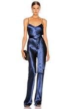 2020 Fashion Nova Women Wear Rompers Blue Jumpsuit Sexy Spaghetti Strap V Neck Sash Design Celebrity Party Women Jumpsuit