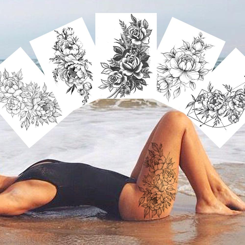 Flower Temporary Tattoos For Women Body Art Painting Arm Legs Tattoos Sticker Realistic Fake Black Rose Waterproof Tattoos
