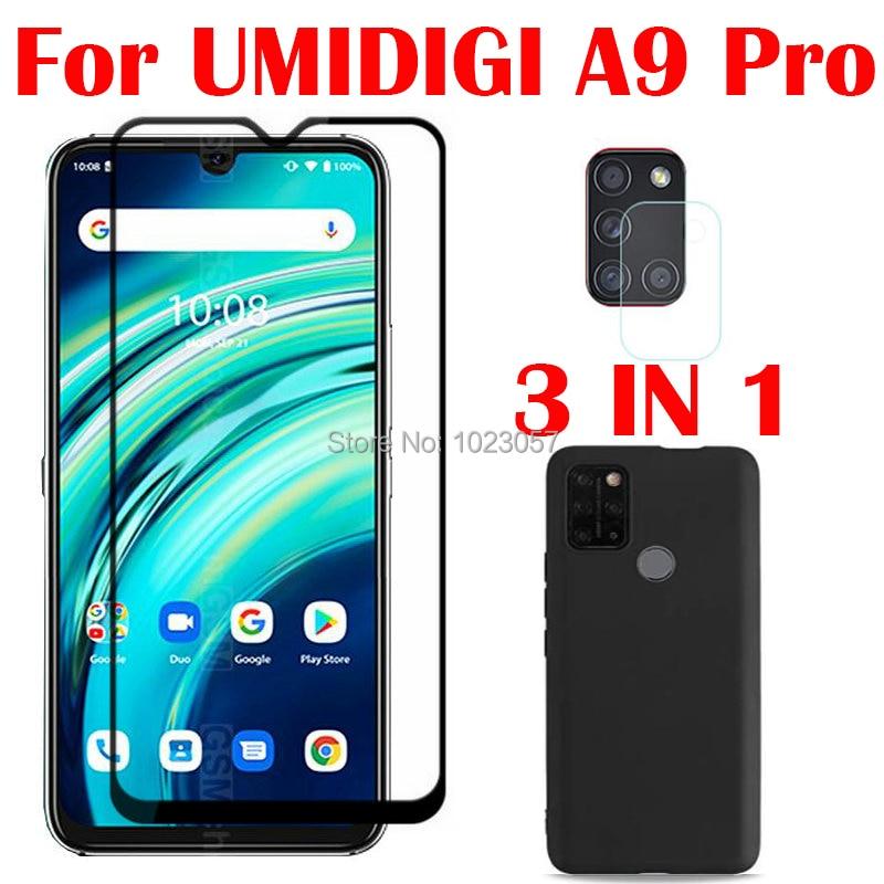 3-in-1 Case + Camera Tempered Glass On UMIDIGI A9 Pro 32/48MP 6.3 ScreenProtector Glass For UMIDIGI