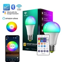E27 WiFi Bluetooth 10W Smart RGB Bulb Corlorful Dimmable Timer Light Support APP Wireless Remote Control Lamp Alexa Google Home