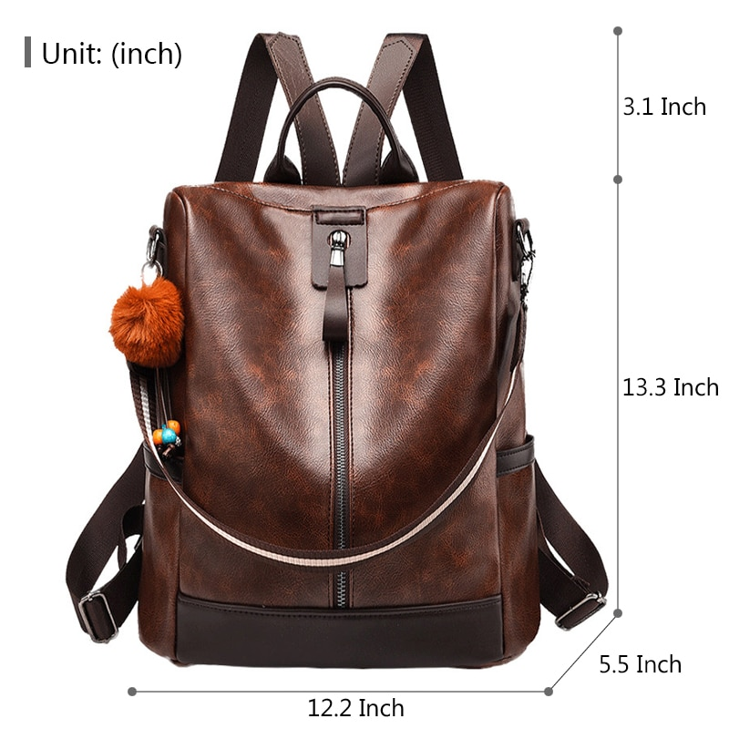 Mtong Women Backpack Purse Anti Theft Waterproof Detachable Covertible Casual Travel Shoulder Bag University Bags (Coffee)