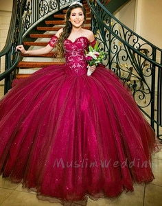 Luxury Bling Burgundy Quinceanera Dresses Sweetheart Puffy Tulle Pageant Sweet 16 Dress Ball Gown Lace Up Formal Prom Dress 2021