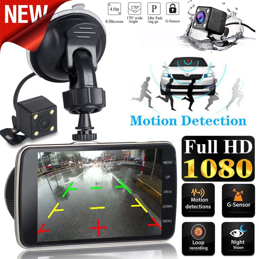 "Cámara Dash Cam de doble lente de coche DVR cámara de vehículo Full HD 1080P 4 ""IPS frontal + trasera de visión nocturna grabadora de vídeo sensor G Monitor de aparcamiento"