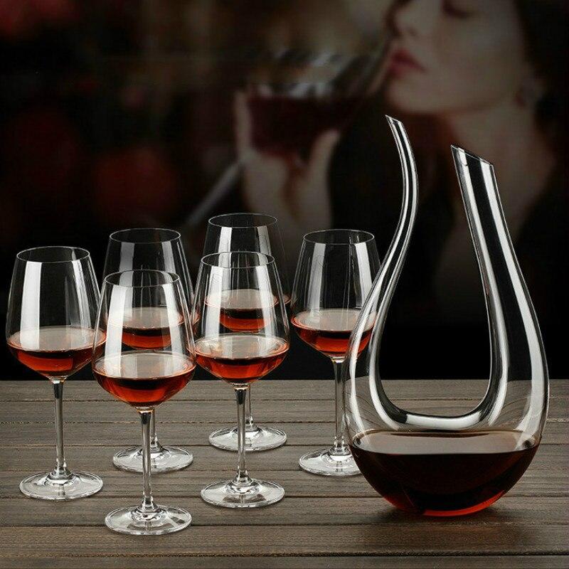 دورق على شكل بجعة 1000 مللي ، موزع نبيذ تجريدي على شكل حرف U ، مصب ، زجاجة نبيذ ، مجموعة نبيذ خاصة