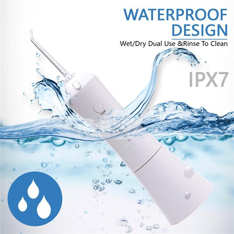 Irrigador dental portátil higiene bucal 230ml carga usb agua dental hilo dental inalámbrico recargable IPX7 higiene dental