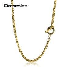 4mm boîte lien en acier inoxydable collier pour hommes femmes chaîne modèles uniques fermoir à bascule 18