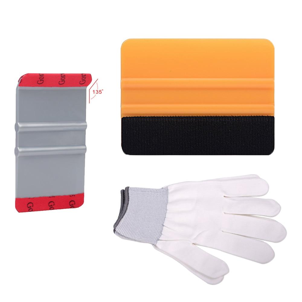 EHDIS 3 uds herramientas de revestimiento para coche de vinilo para coche ventana adhesivos de tinta película instalación herramientas Kit de plástico escurridor blanco guantes de trabajo