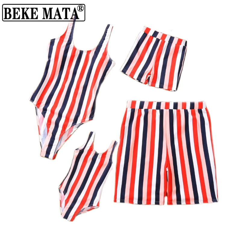 Father And Son Matching Swimsuit 2021 Summer Striped Mother And Daughter Swimwear Family Look Mom An