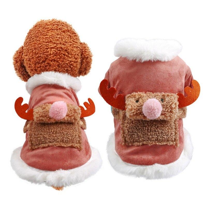Nueva chaqueta cálida de invierno para perros y mascotas, abrigo de uapití con polvo grueso de alce para Navidad, ropa para cachorros