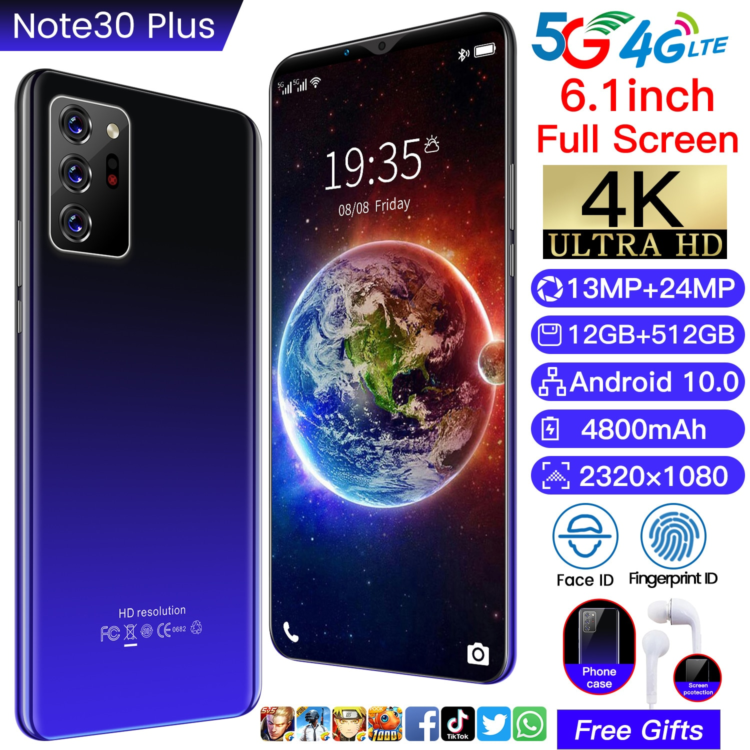 Note30 Plus Cellphone 6.1 Inch 10 Core 4800Amh Face Unlock Smartphone 2320*1080 12GB+512GB 13MP+24MP Andriod 10 Network Phone enlarge