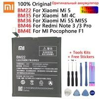 BM35 BM36 BM22 BM4E BM46 Аккумулятор для Xiao Mi 5 5S 4C Pocophone F1 Red Mi 3 Pro сменная батарея для телефона большой емкости
