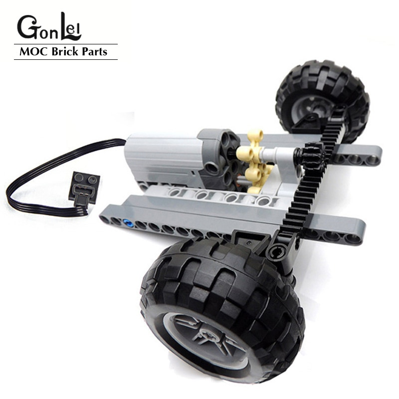 High-Tech Car Front Suspension Steering System Parts Sets with Electric Power Functions Servo Motor & Wheels Toys Bulk Set Parts