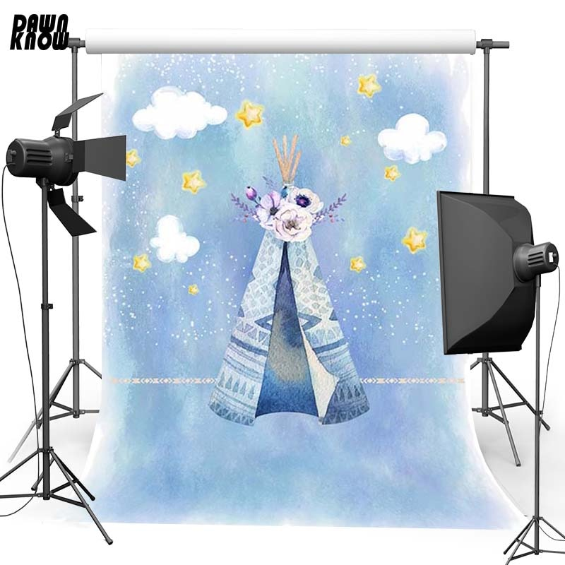 DAWNKNOW Blue Tent Cloud Vinyl Photography Background For Baby Star Photo Shoot Backdrop For Wedding  Photo Studio G706