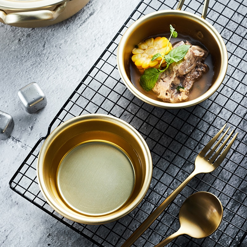 Creativo oro bol de aluminio con mango ensalada fideo arroz Bowl 300ML desayuno vajilla accesorios 1PC copa de vino