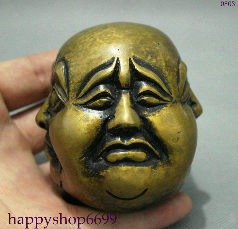 Budista chino bronce 4 caras Maitreya Buda cabeza Xi Nu Ai Le...
