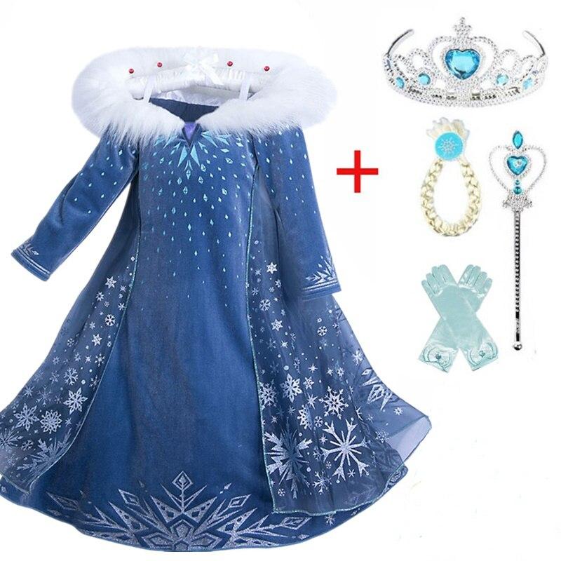 Anna Elsa 2 Mädchen Elsa Kleid Cosplay Kleider Schnee Königin Kostüme Für Kinder Prinzessin Disfraz Carnaval Vestidor Robe Infantil