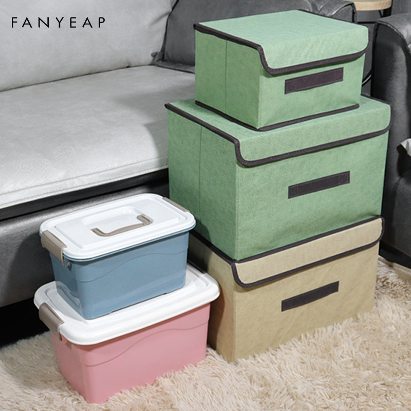 AliExpress - Cotton Linen Storage Box With Cap Clothes Socks Toy Snacks Sundries Organizer Set Fabric Boxes Cosmetics Household
