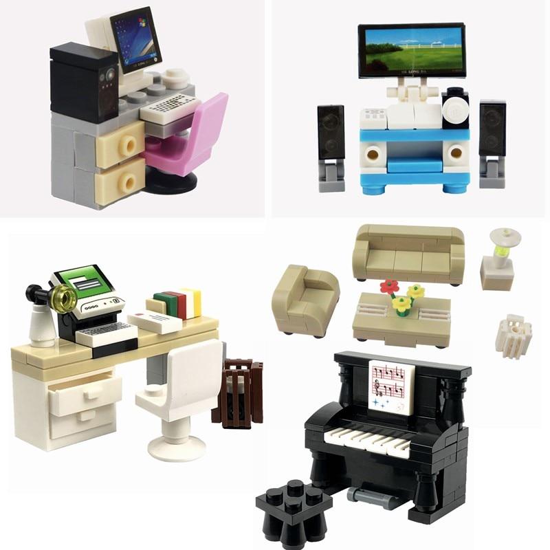 Locking MOC Blocks Creator Bricks Piano TV Computer Sofa Dest DIY Set Sale Building Blocks Toys for Children Creative Parts