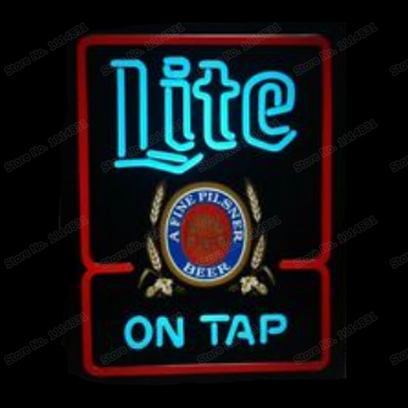 Miller Lite ON TAP Printed A Fine Pilsner Beer Neon Sign Handmade Real Glass Tube Bar Store Decoration Display Light 15