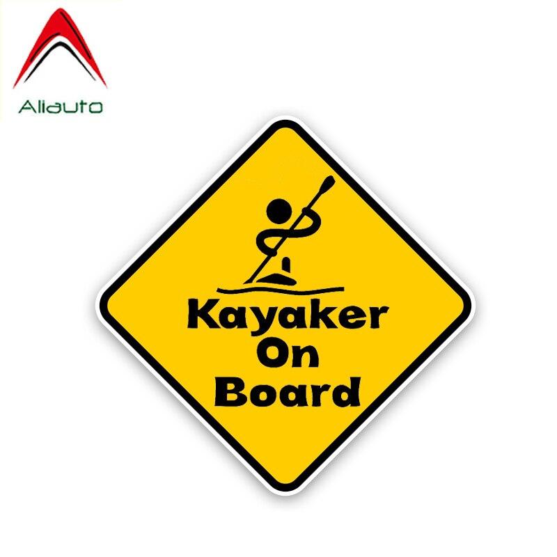 Aliauto aviso kayaker a bordo etiqueta do carro decoração pvc capa scratch decalque para honda civic mitsubishi lada kia vw, 13cm * 13cm