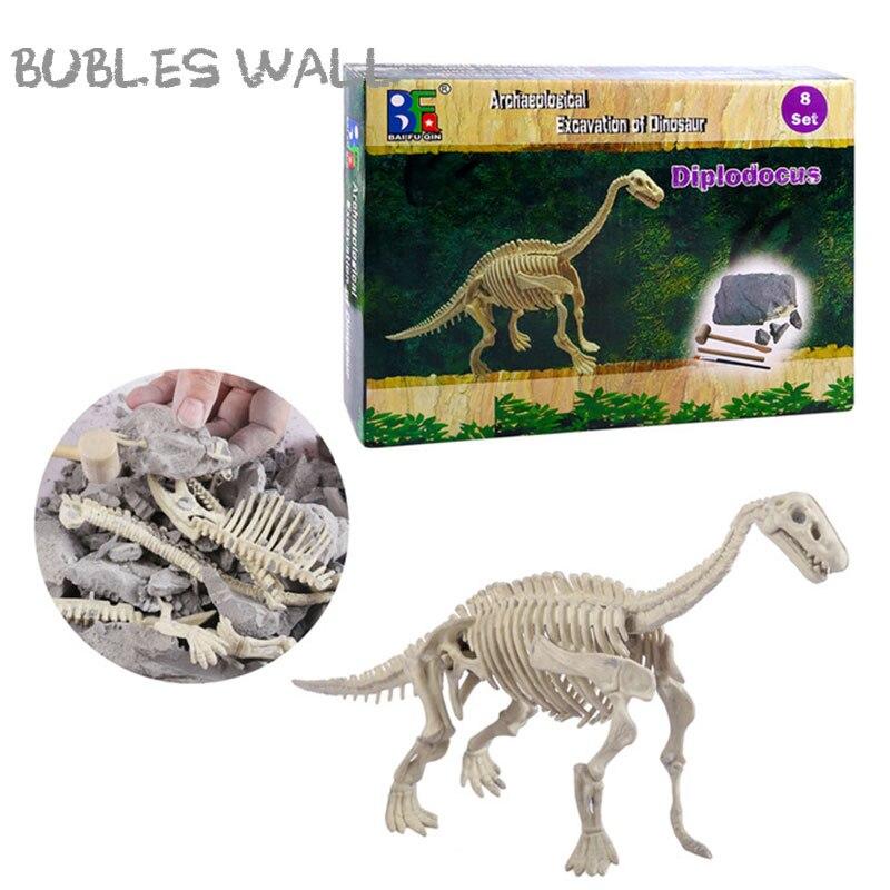 Diplodocus hueso cavar dinosaurios juguete ciencia arqueología explorar cavar juegos Jurásico dragón modelo juguetes para niños y regalos de los niños