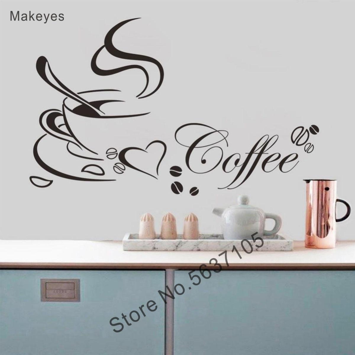 Makeyes café etiqueta de la pared de decoración de pared de cocina casa cálida decoración vinilo calcomanías de diseño para pared taza de café de papel Q037
