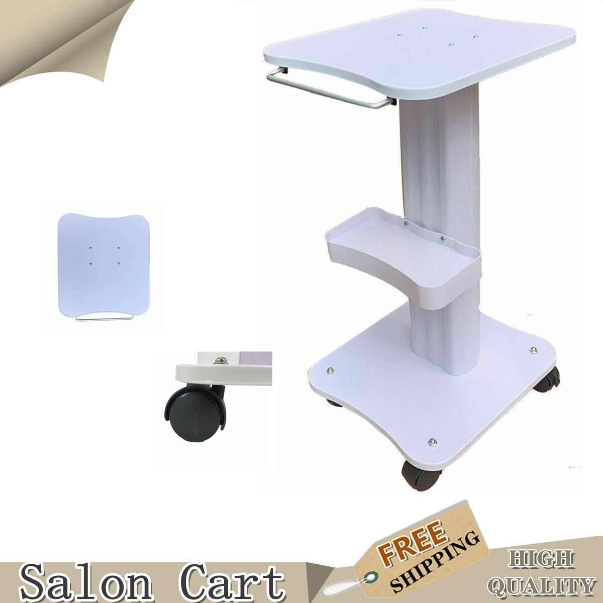 Beauty Hair Instrument Tray Cart Aluminum SPA Rolling Salon Trolley ABS  Drawers Roller Salon Trolley Beauty Tool