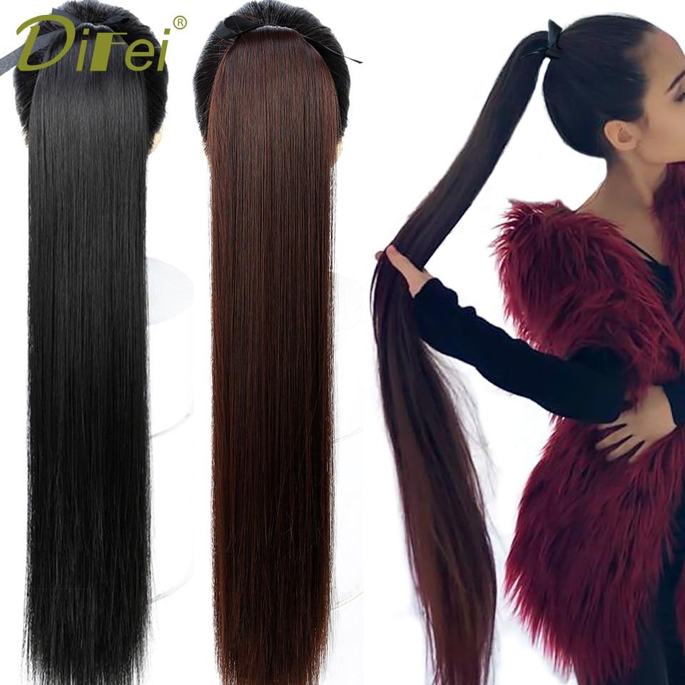 DIFEI-Extension capillaire synthétique à cordon de serrage   Postiche lisse longue de 5 tailles, queue-de-cheval noire/brune résistante à la chaleur avec pince pour femmes