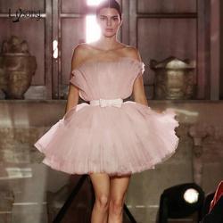 Blush rosa moda inchado tutu vestidos de cocktail curto 2020 arco robe cocktail mini vestido de baile vestido de festa