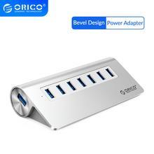 Moyeu ORICO USB3.0 moyeu aluminium 7 ports Super vitesse avec adaptateur secteur 12V 3.3Ft. Cordon de câble USB3.0 pour ordinateur portable iMac MacBook