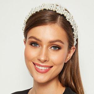 Ladies Women Luxury Full Jewelry Wide Headband Irregular Imitation Pearl Beaded Embellished Hair Hoop Wedding Banquet Headpiece