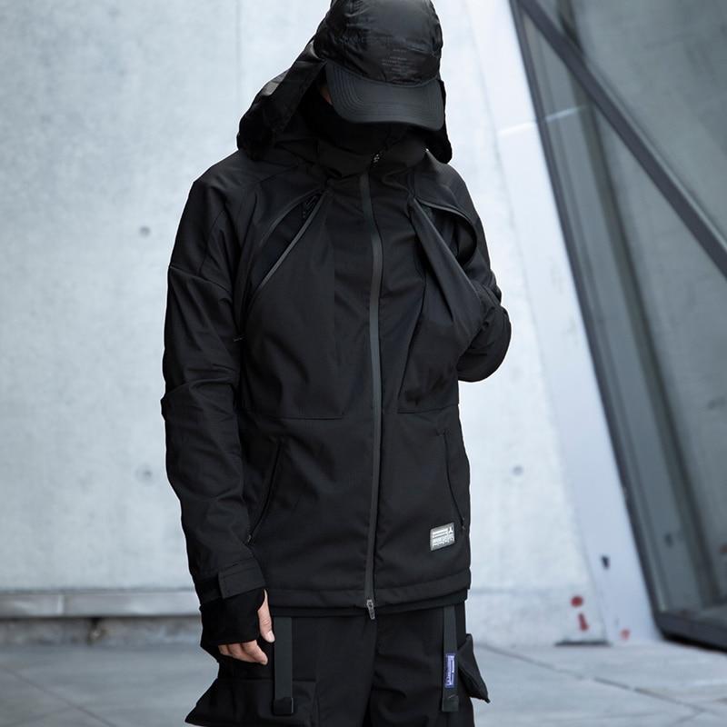 WHYWORKS Techwear مقاومة للماء الأسود معطف طويل الرقبة الهيب هوب نمط الشرير موضة